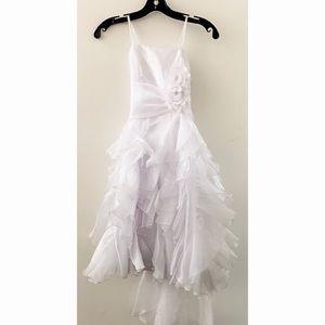 Joy Kids White Dress with flower detail